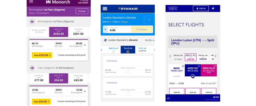 Screenshots of other airline designs of the same page to indicate competitor analysis research