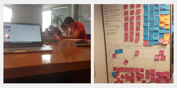 Image of people completing a usability study and post-it notes stuck to a whiteboard