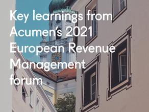 Key learnings from Acumen's 2021 European Revenue Management forum