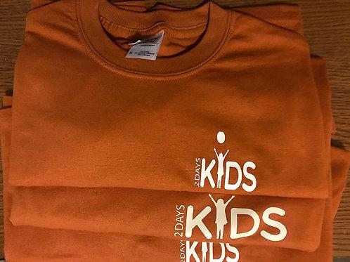 XL/2XL Orange T-shirt with White 2 Days Kids Logo