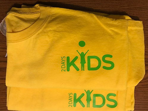 Yellow T-shirt with Green2 Days Kids Logo