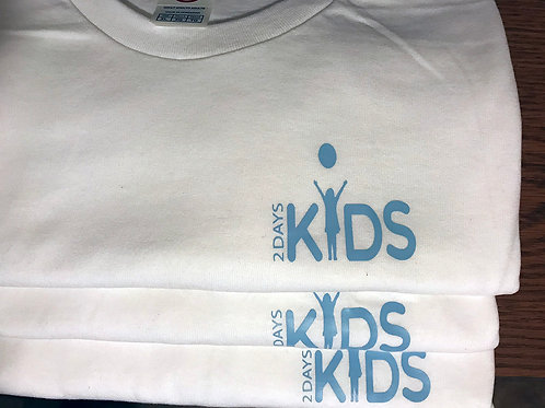 White T-shirt with Lt Blue 2 Days Kids Logo