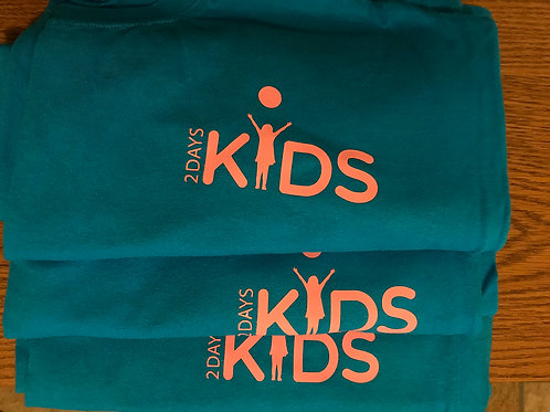 Teal T-shirt with Peach 2 Days Kids Logo