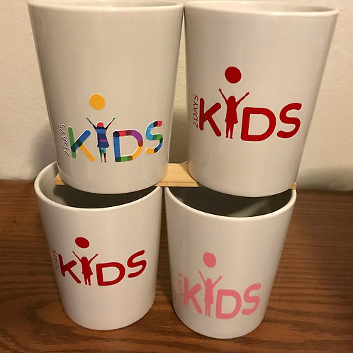 Cups with 2 Days Kids Logo