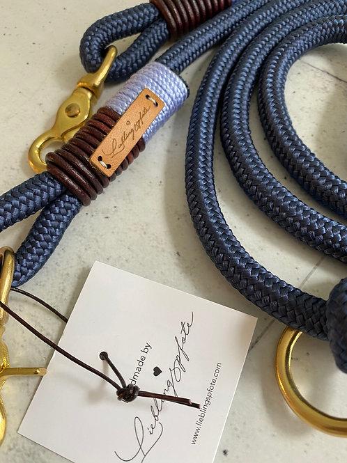 2-fach verstellbare Leine Marine 10mm - Wickelung Lavendel & Leder Antikbraun