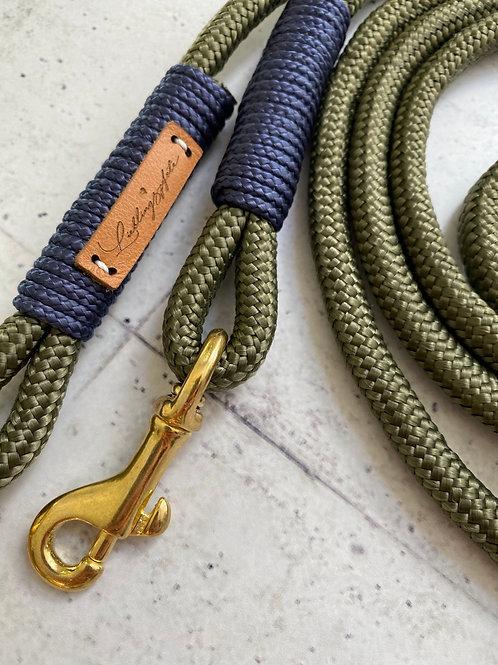 2-fach verstellbare Leine Olive 8mm - Wickelung Marine