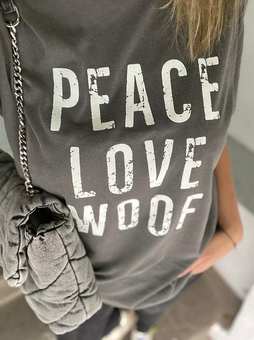 """Lieblingspfote """"PEACE LOVE WOOF"""" Shirt Vintage Grau"""