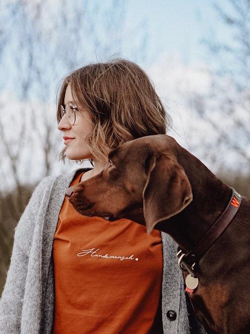 """Lieblingspfote """"Hundemensch"""" Damenshirt Roasted Orange"""
