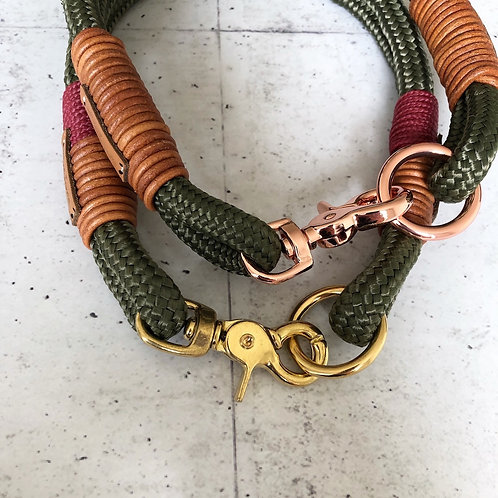 Feste Halsung doppelt- mit Lederwickelung