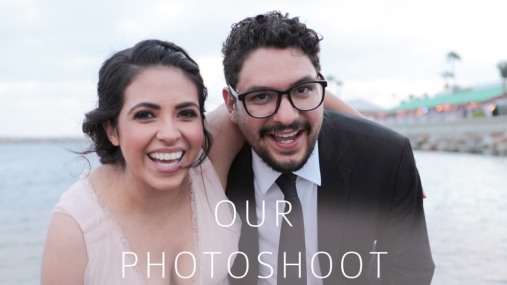 Business owners of milestones of love at a photo shoot in redondo beach all dressed nice with big smiles having fun