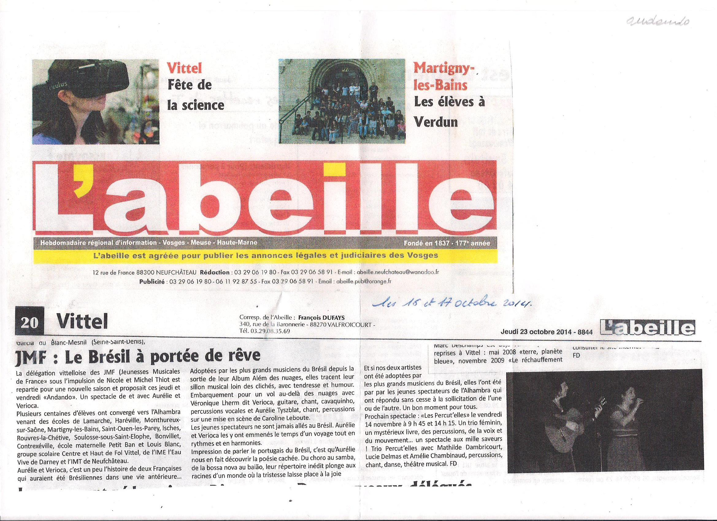 AURELIE VERIOCA_ANDANDO_JMFrance_L'Abeille