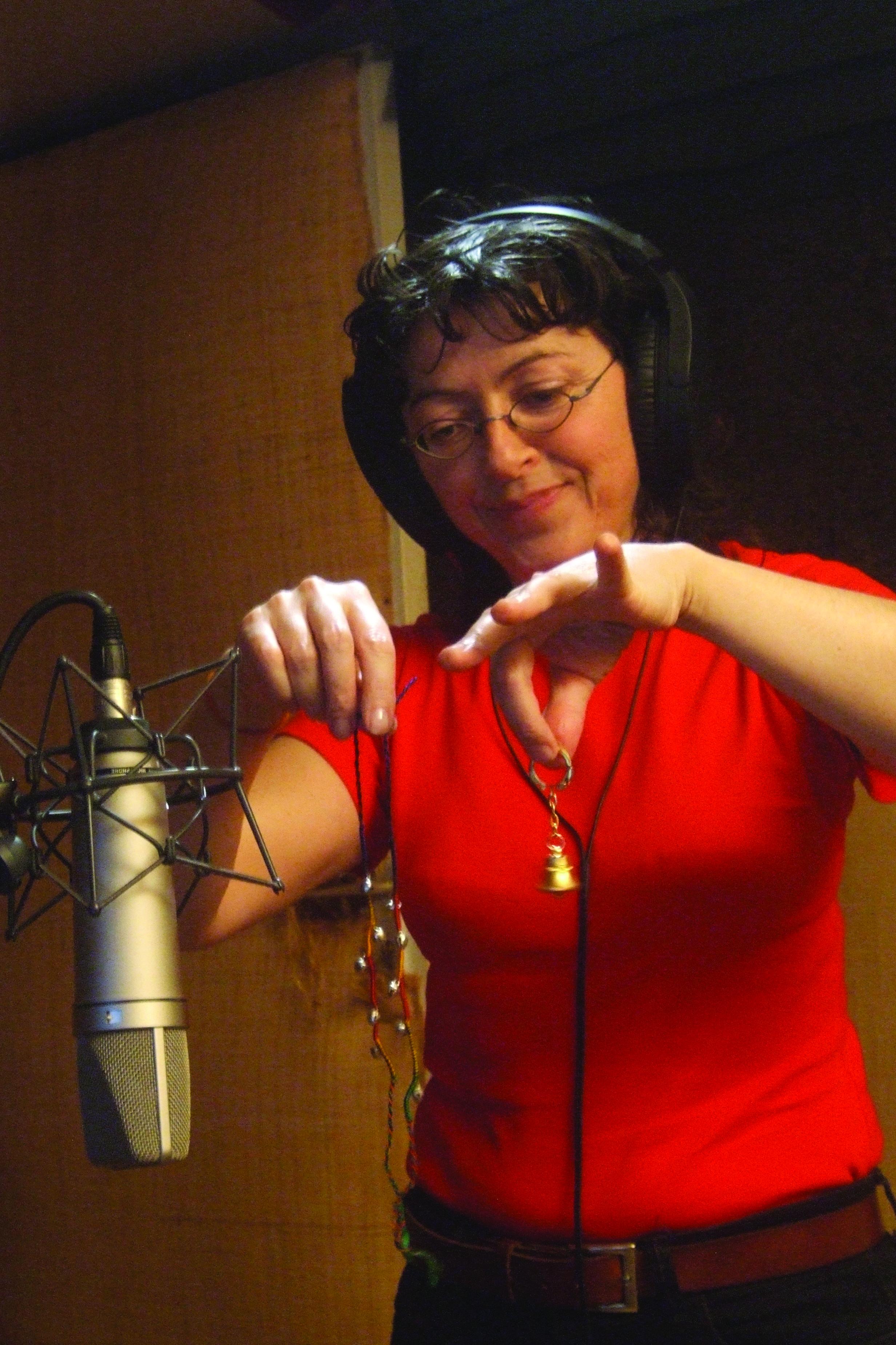 Verioca enregistre des grelots au studio Blom