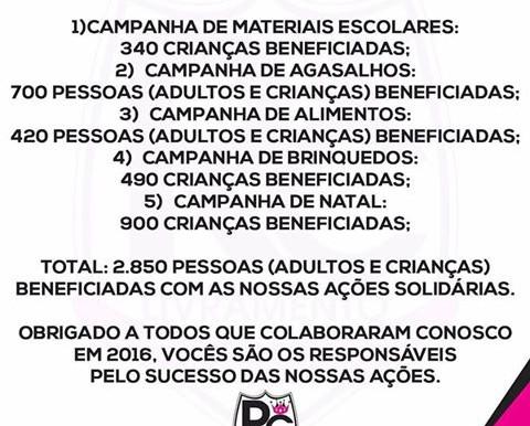 RC Livramento publica suas atividades em 2016