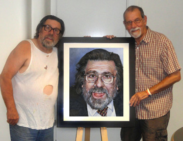 Presenting my painting to the wonderful Ricky