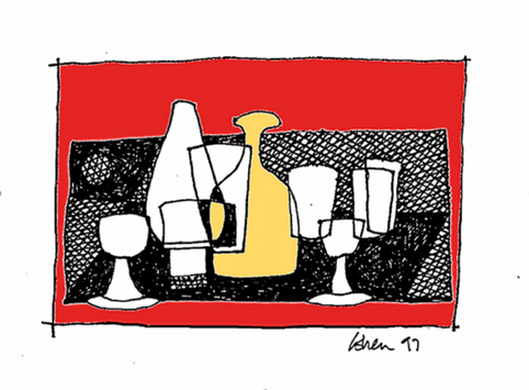 Still Life With Bottle of Cava in Red