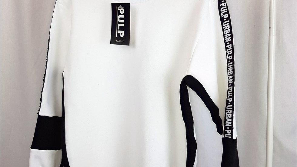 White Longline Sweatshirt - Stripe White collection