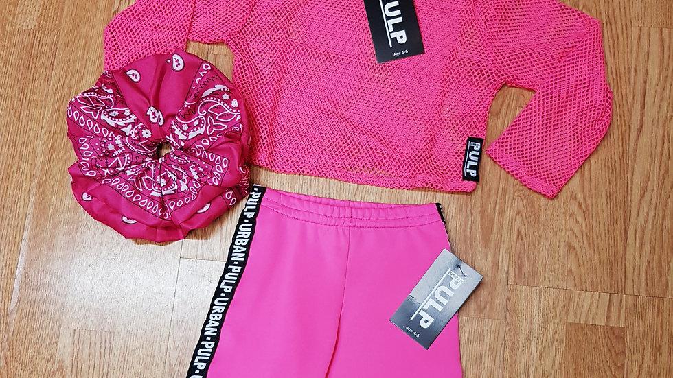 Flo Pink Top & Cycle & Huge Scrunchie Age 4-6
