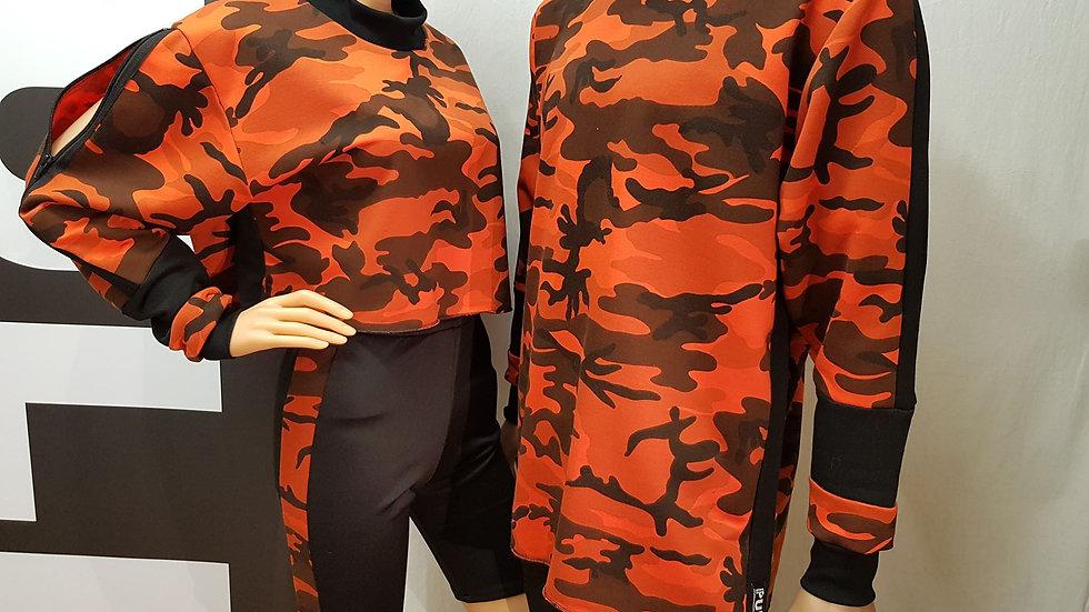 LongLine Sweatshirt - Camo Collection (Orange)