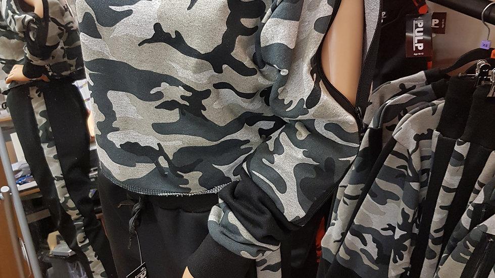 Crop Top Zipped Sleeve - Camo Collection (Dove Grey)