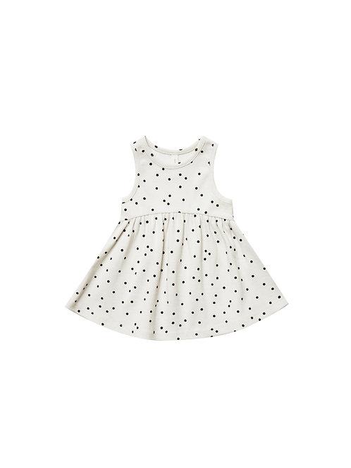 Organic Ribbed Cotton Tank Dress - Pebble Dot