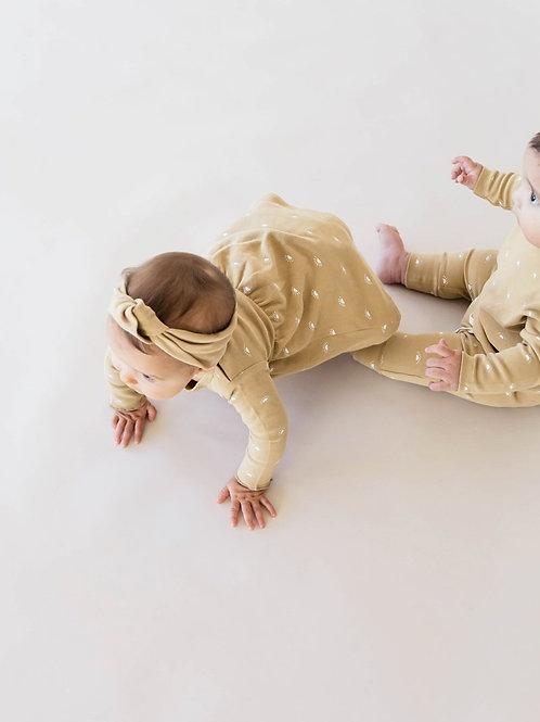 Organic Long Sleeve Baby Dress - Honey - Sun Motif