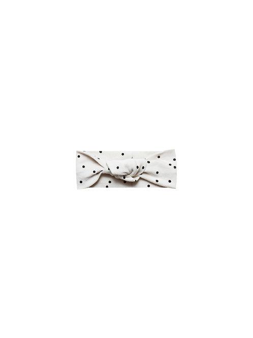 Organic Ribbed Cotton Headband- Pebble Dot