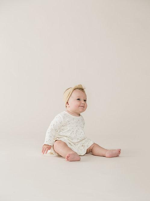 Organic Long Sleeve Baby Dress - Ivory - Starry Print