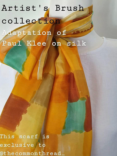 Golden Palatte - Hand Painted Silk Scarf