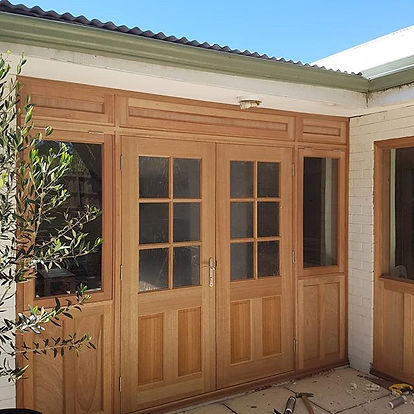 french door set with awning windows