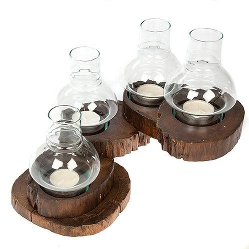 Teak root folding tea Light Holder/Glass Shade