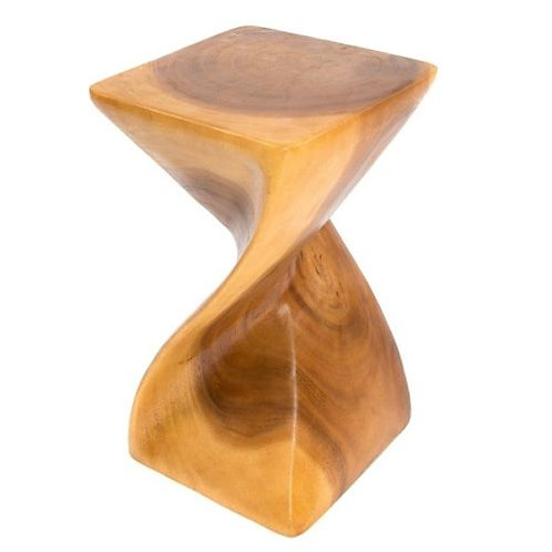 Solid Twist Side Table - Honey Finish