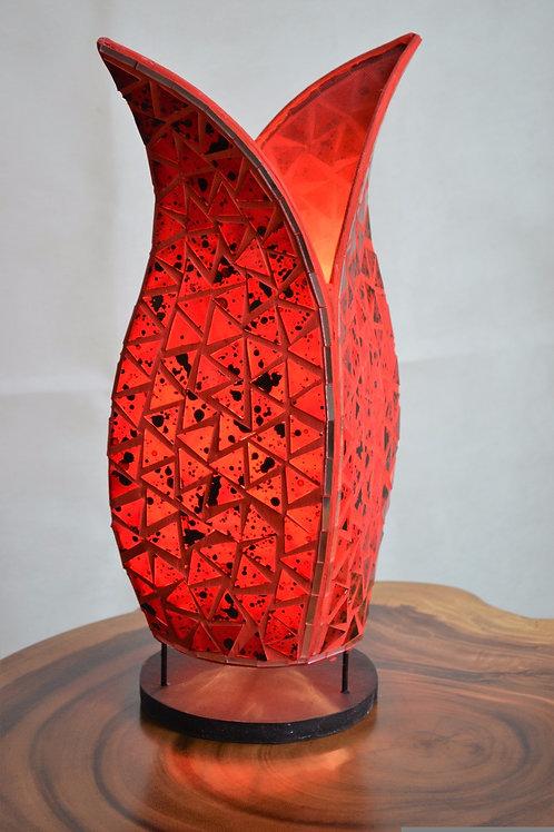 Mosaic Glass Tulip Lamp/Red
