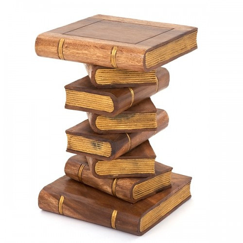 Stacked Book Side Table   Waxed/Gold