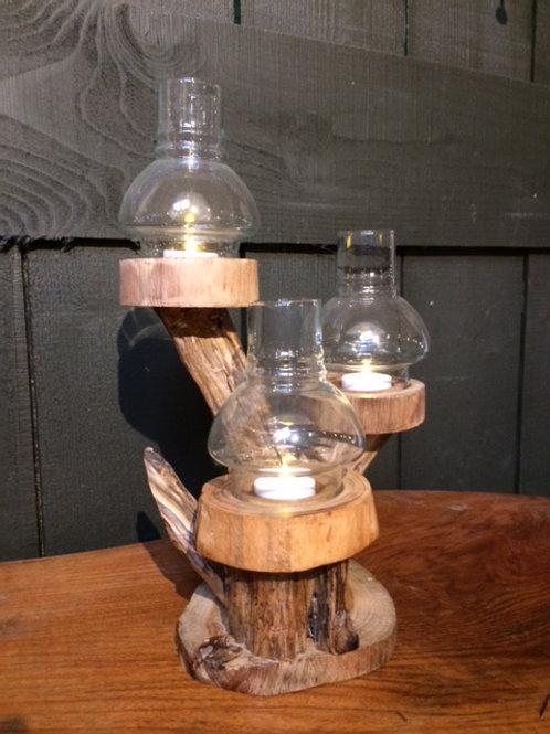 Teak root tealight tree