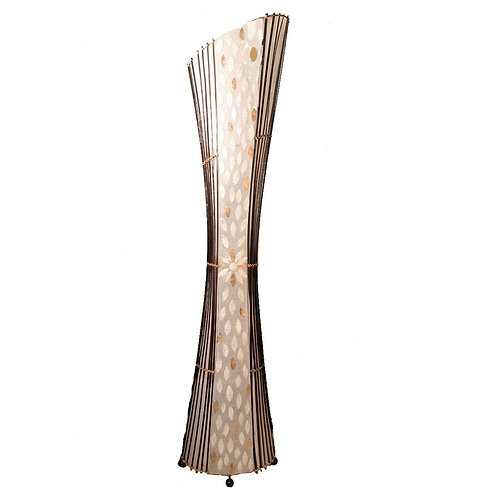 Oval Bamboo & Flower Shell Floor Lamp-150cm