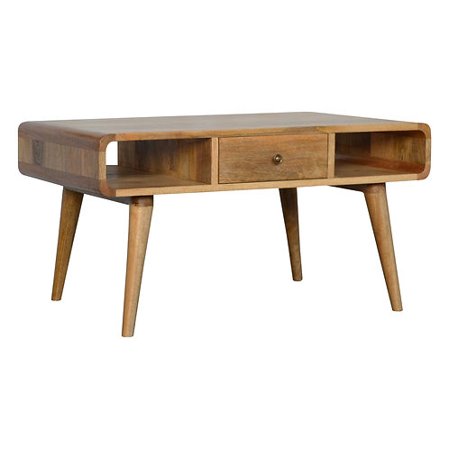 Curved 2 Drw Coffee Table