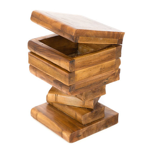 Stacked Book Side Table With Storage/Waxed