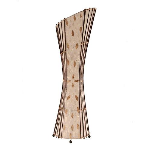 Oval Bamboo & Flower Shell Floor Lamp-100cm