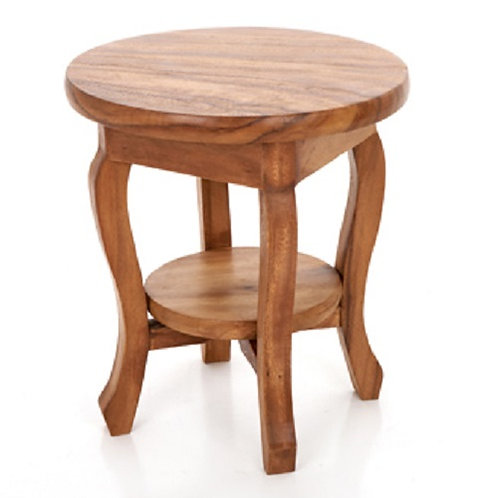 Round Side Table With Shelf