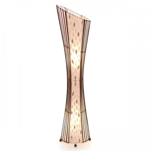 www.montpellierdecor.com | Oval Bamboo & Flower Shell Floor Lamp-150cm