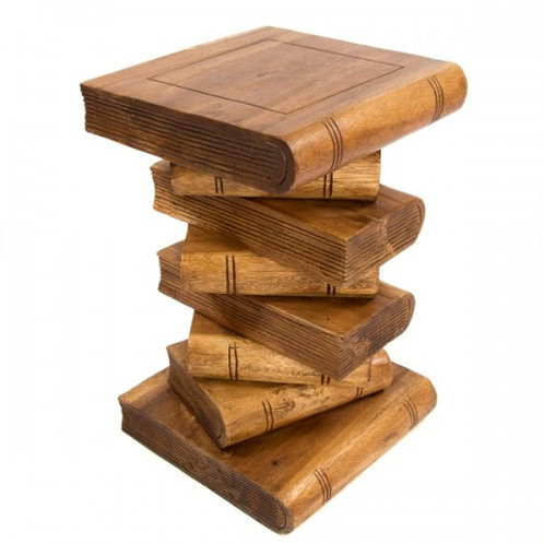 Stacked Book Side Table Stool/Waxed