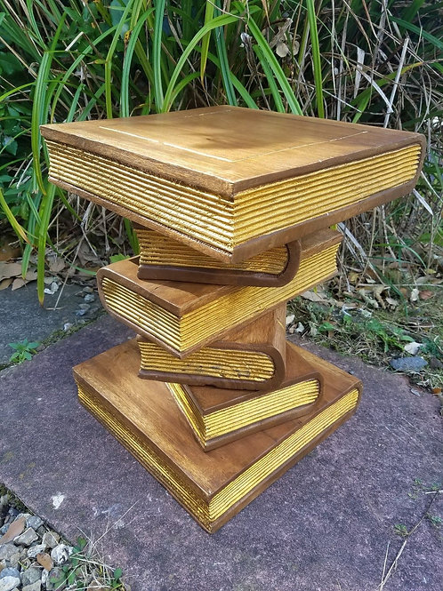 """Book Table-Waxed/Gold 16"""""""