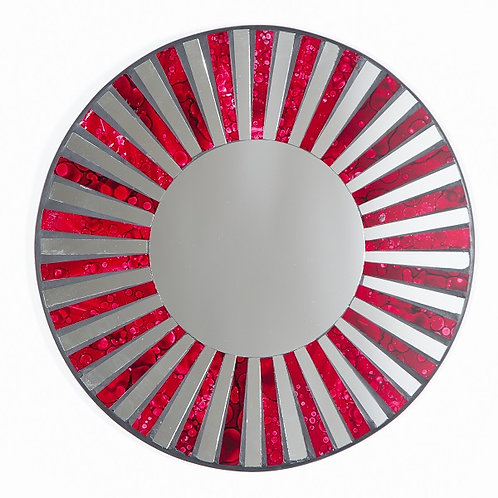 Red Stripe Mosaic Mirror-40cm