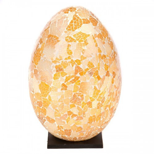 White And Gold Mosaic Egg Lamp