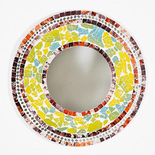 Multi Colour Mosaic Round Mirror