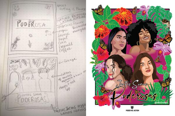 Sketch by Irene Godinez (left); Final artwork by Nikki Rodriguez (right)