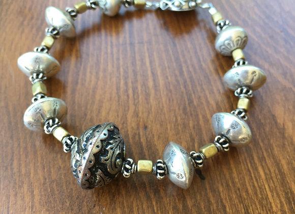 Bosco Bling chunky silver and bronze beaded bracelet