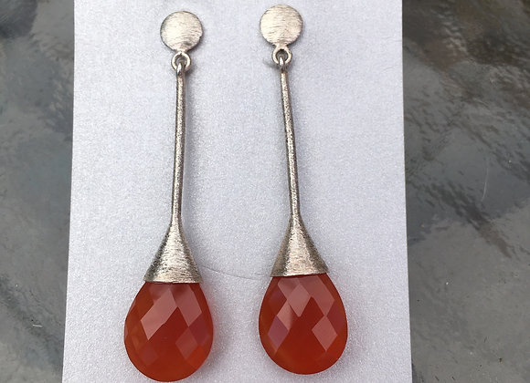 Carnelian brushed silver drop earrings