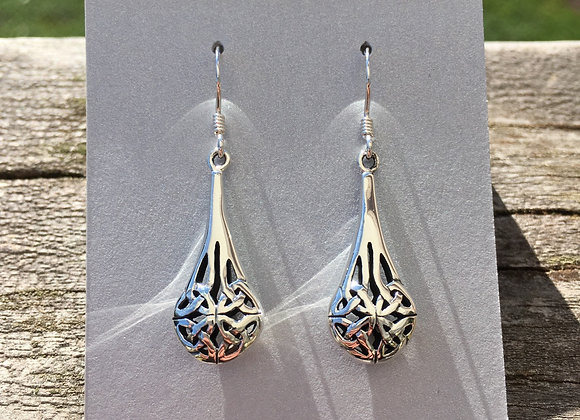 3D Celtic knot teardrop earrings