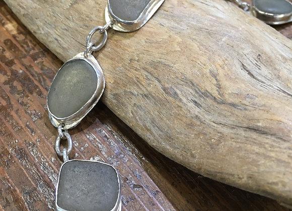 Waters Edge Silver grey sea glass bracelet